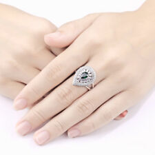 Newshe Gemstone Ring For Women Sterling Silver 2.8Ct Pear Green Emerald AAA Cz