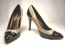 Qupid Pointy toe 4 inch stiletto high heel shoes two-tone brown patent