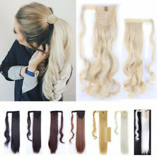 US Lady Wrap around Ponytail Hair Extensions Straight Wavy Bleach Ombre as Human