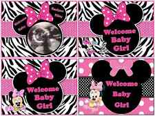 EDIBLE CAKE IMAGE MINNIE MOUSE BABY SHOWER ZEBRA PRINT PARTY ICING SHEET