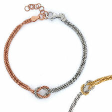 14K Gold, Rose Gold, or Rhodium Plated Silver Two Tone Love Knot Chain Bracelet