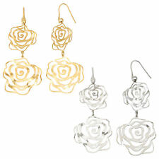 14K Yellow Gold or Rhodium Plated Silver Rose Flower Cut Out Dangle Earrings