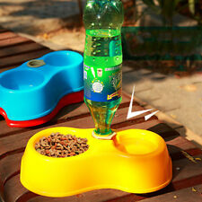 Water Drinker Fountain Food Feeder Pet Dog Cat Dish Double Bowl Feeding Tool