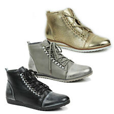 WOMENS WEDGE HEEL HI TOP LACE UP SNEAKERS TRAINERS BOOTS LADIES SHOES SIZE 3-8