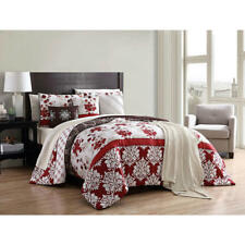 Comforter Set 12 Pc Red Taupe Floral Pattern Cozy Soft Decorative Pillows Shams