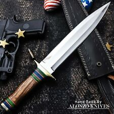 ALONZO KNIVES USA CUSTOM HANDMADE COMBAT DAGGER 1095 KNIFE BURL WOOD HANDLE 1238