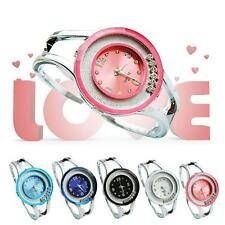 Women Bangle Bracelet Stainless Steel Crystal Dial Quartz Analog Wrist Watch ^^