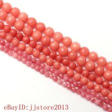 4,6,8mm Natural Faceted Red Rhodonite Round Shape Gems Loose Beads Strand 15""
