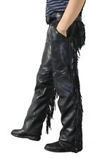 unisex cowhide leather mens ladies motorcycle biker chaps braided/ fringes new