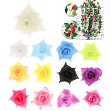 10x Artificial Roses Heads Flower Wedding Hair Clip Corsage DIY Decor Crafts