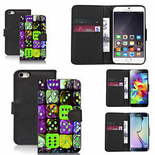 faux leather wallet case for many Mobile phones - multi dice