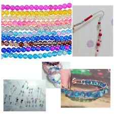 106-110PC GLASS CRACKLE BEADS STRAND 8mm DIY Jewelry Beading Crafts Supplies