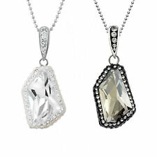 Rhodium Plated Sterling Silver Pendant Necklace, Made with Swarovski Crystal