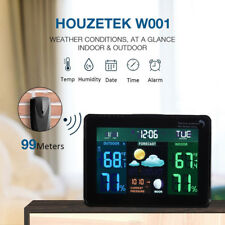 New Digital LCD Wireless Weather Station Alarm Clock Indoor Outdoor Thermometer