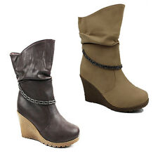 WOMENS SLOUCH FASHION MID CALF WEDGE HEEL BOOTS BOOTIES LADIES SHOES SIZE 3-8