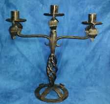 Early 20th Century~Made in Sweden~Hand Forged Iron Candlestick Holder