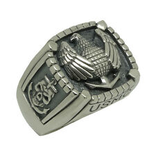 Marine Corps Eagle Sterling Silver 925 USMC Army Skull Biker Mens Ring US Sizes