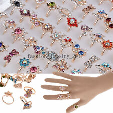 10/20/50pcs Wholesale Mixed Lots Jewelry Crystal Gold Plated Women's Rings FREE