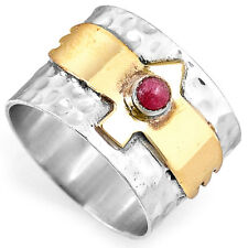 Solid 925 Sterling Silver Hammered Ring Ruby Gemstone Band Boho Size