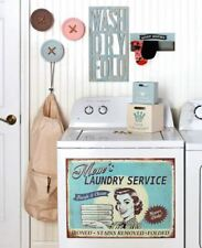 Vintage Retro Inspired Metal Wood Home Decor Laundry Room Wall Art Sign Accents
