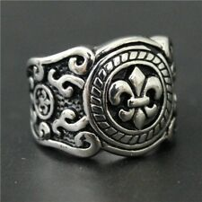 Vintage 316L Stainless Steel Ring Special Design Mens Silver Cool Design Size 8