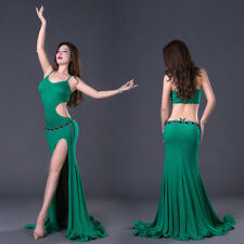 2018 New Strap Sleeveless Hollow Out Backless Belly Dance Costume Long Dress M L