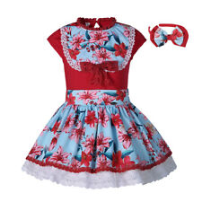 Kids Girls Flower Dress T-shirt and Skirt Outfits Party Pageant Vintage Sets