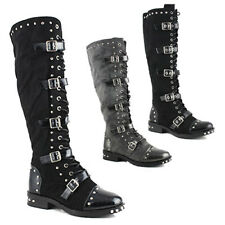 WOMENS KNEE HIGH BUCKLE STUDDED BIKER ARMY PUNK GOTH BOOTS LADIES SHOES SIZE 2-8