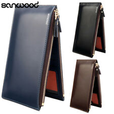 Mens Fashion Long Faux Leather Zipper Id Credit Card Holder Bifold Wallet 9294
