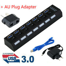 4/7Ports USB 3.0 Hub with On/Off Switch+EU AC Power Adapter for PC Laptop MG Lot