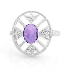 925 Sterling Silver Natural Purple Amethyst Ring Gemstone Size 4 5 6 7 8 9 10