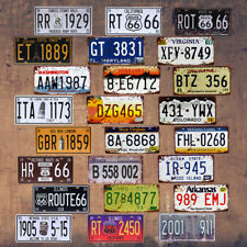 Vintage Car Number License Plate Motorcycle Tin Signs Art Wall Decor Bar Pub