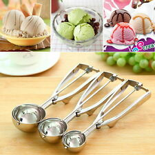 Ice Cream Spoon Stainless Steel Spring Handle Masher Cookie Scoop AUZ