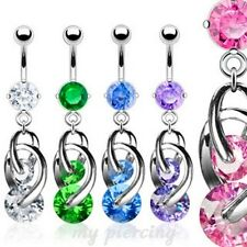 """14G-3/8"""" CZ Prong Set Navel ring with 2 CZ Cosmic Dangle 316L Surgical Steel"""