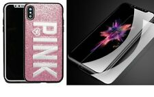 iPhone X Case Cover Fashion PINK Embroidery Bling Glitter & Screen Protector