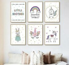 Nordic Cartoon Animals Unicorn Rabbit Canvas Painting Art Poster And Print Wall