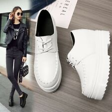 Womens Casual Platform Sports Shoes Hidden Wedge High Heels Lace up Sneakers Sz