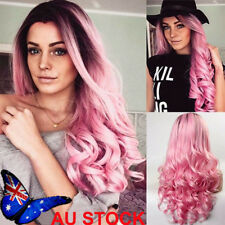 Women Wigs Hair Gray Ombre Hair Curly Long Wavy Flaxen Wine Red Pink Wigs Hair