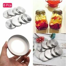 8Pcs Stainless Steel Mason Jar Storage Solid Caps Lids Canning Container Tools