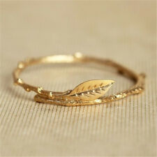 Charm 18k Gold Filled Women leaf Jewelry Wedding Engagement Party Ring Sz 5-10