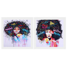 2 Panel Modern Art Paint Print Painting on Canvas Poster - Afro-hair Girl