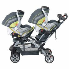 Double Baby Stroller Toddler Kids Sit N Stand Folding Pushchair w Removable seat
