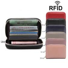Leather Card Holder Women Men Rfid Wallet Business Travel Organizer Cards Purse