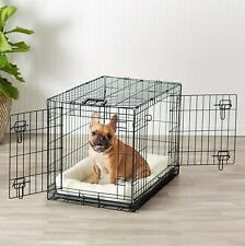 2 Door Dog Crate Metal Folding Portable Pet Cat Kennel Cage w Divider & Tray 30""