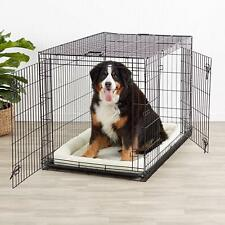 2 Door Dog Crate Metal Folding Portable Pet Cat Kennel Cage w Divider & Tray 48""