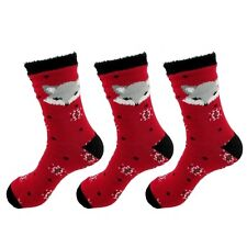 Animal Double Layer Extra Thick Soft Warm Fuzzy Non-Skid Crew Socks, 3 Pairs Fox