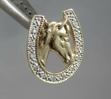 Estate 14 Karat Yellow & White Gold Diamond Horse Horseshoe Pendant 14K J0668