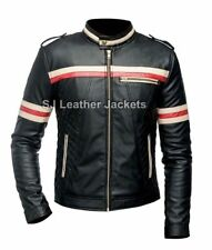 Men's Real Leather Motorbike Jacket Red & White Stripes