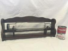 Vintage Clear Glass Rolling Pin & Wooden Rack Stand Holder