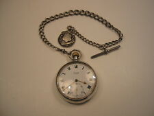 ANTIQUE SILVER 'LIMIT' POCKET WATCH WITH SILVER CHAIN & FOB